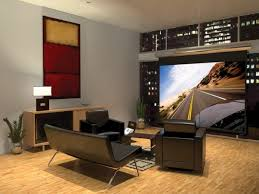 small media room ideas. Outstanding Small Home Theater With Contemporary Sofa And Minimalist Black Chairs Media Room Ideas