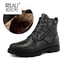 POLALI <b>Natural Cow Leather Men</b> Winter Boots 2018 Handmade ...