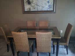 garage appealing wicker dining room chairs 6 rattan fascinating