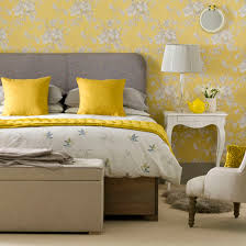 Interior design bedroom vintage Boho Vintage Bedroom With Yellow Floral Wallpaper Neutral Carpet And Grey Headboard Ideal Home Vintage Bedrooms To Delight You Ideal Home