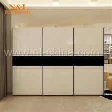 wood sliding door closet wardrobe with white colour pvc door