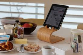... Tablet Holder For Kitchen Ipad Kitchen Cabinet Mount Curved Wood Table Holder  Stand Portable ...