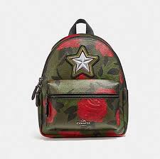 coach mini charlie cnvas 38302 green camo rose leather backpack