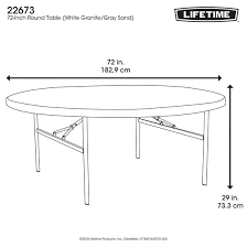 lifetime round table 72 lifetime white granite 6 foot round table with folding legs 22673 com lifetime round table 72 lifetime 6 foot folding