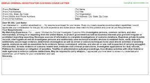 Criminal Investigator Customs Cover Letter Cover Letters Templates