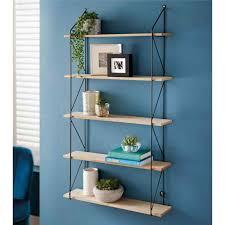 5 tier shelf wall hanging shelves black