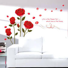 rose wall decal home decor red rose wall decal mural removable flowers wall stickers vinyl art rose wall decal