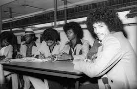 Switch (Phillip Ingram, Gregory Williams, Eddie Fluellen, Bobby DeBarge,  Tommy DeBarge, Jody Sims) / Motown Records in-store sales promotion at  Freeway Records in Los Angeles, CAcirca 1979© 1979 Bobby Holland - Image