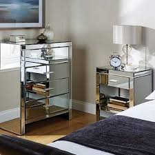 Cheap Mirrored Bedroom Furniture Small Drawer On Black Wooden Floor ...