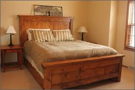 diy dark brown stained wooden king bed frame beautiful combination wood metal furniture