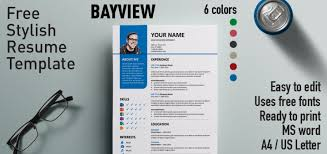 Free Resume Templates 2015 Bayview Stylish Resume Template