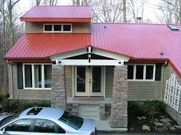 exterior color schemes with red roof. country red metal roof | exterior of house. new roof, stack rock color schemes with o