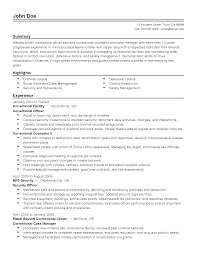resume templates correctional officer network security officer