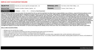 Cost Accountant Cv Cover Letter Resume Template 24354