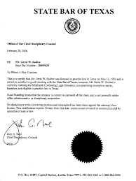 Texas State Bar Letter