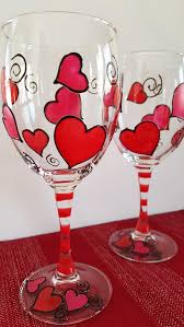 Wine Glass Decorating Designs Hearts Hearts Hearts Hand Painted Wine Glasses Sold in Pairs 86