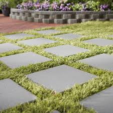 patio pavers with grass in between. Paver Stones With Lawn, Patio And Raised Bed. Pavers Grass In Between