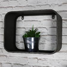 set of 3 industrial style metal box wall shelves