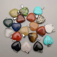 fashion 20mm heart natural stone pendants necklace for jewelry making diy mixed high quality 36pcs