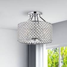 4 light round ceiling chandelier semi flush mount home decor drum crystal chrome