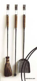 roost forged iron fireplace tools set 3 w 3 hooks modish
