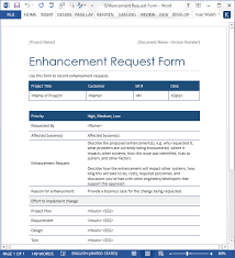 Enhancement Request Form Word Template Software Testing