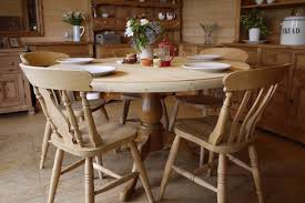 large solid waxed pine table and chairs farmhouse pine round table 4 6 8 seater