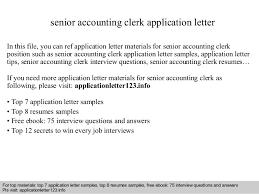 Application Letter Sample For Accounting Clerk Senior Accounting Clerk Application Letter