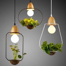 lighting diy. Modern Simple Wood\u0026Iron Pendant Lamp Lighting DIY Plant Pot Bar Restaurant Balcony Creative Suspension Light Fixture Diy 0