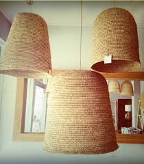 woven lamp shades handmade denim coloured from grass 2