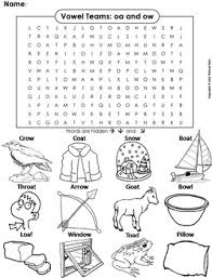 Let's sound out some 'oa' words! Oa Ow Vowel Team Phonics Worksheet Digraphs Word Search Coloring Sheet