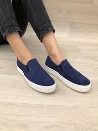 blue leather shoes vans style