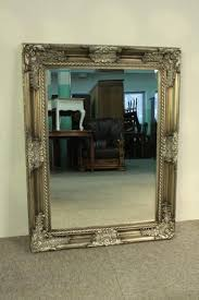 wall mirror large antique silver frame wood