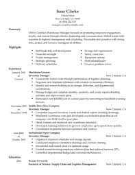 Inventory Resume Samples Cover Letter Manufacturing Sample