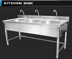 commercial kitchen sink. Triple Bowls Stainless Steel Kitchen Sink Cabinet With Faucets Used For Commercial Industrial Hotel Restaurant Backsplash C