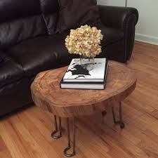 bryans tree section coffee table with hairpin legs