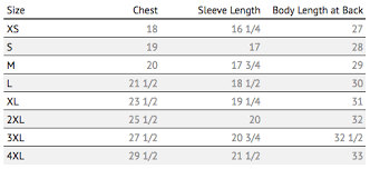 Body Length Size Chart Size Charts Just Keep Livin