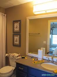 Vanity Bathroom Light Guest Bathroom Lighting And Framing A Builder Grade Mirror