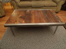 raw steel furniture. industrial coffee table with raw steel trim and hairpin legs furniture t