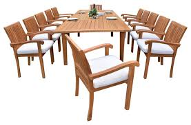 outdoor 13 piece dining set with caranas rectangle table 122 furniture only