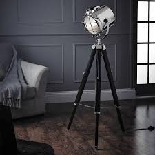 Endon Nautical Cinematic Tripod Floor Lamp Polished Nickel Matt Black