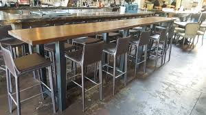 image of wooden bar table long