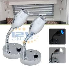 2x 12v led flexible bedside book reading lights bedroom rv caravan surface mount