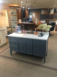 distressed blue vanity by brighton cabinetry