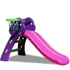New Premium Slide Kids Slide With Basketball Net Three Colours