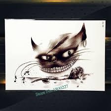 черный кот зуб водонепроницаемый временные татуировки наклейки мужской боди арт