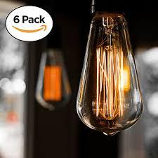 edison bulb cmyk 60w filament long life vintage antique style incandescent amber glass light squirrel cage design e26 medium base lamp 6 pack for
