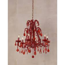 marie therese red chandelier red crystal 6 arm