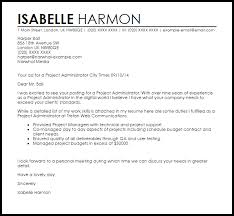 Project Administrator Cover Letter Sample | LiveCareer