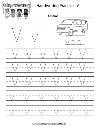 Writing Practice Worksheet 8 Letter V Worksheet Kindergarten Kindergarten